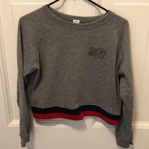 Clare V Fit Club Cropped Grey Sweatshirt Medium